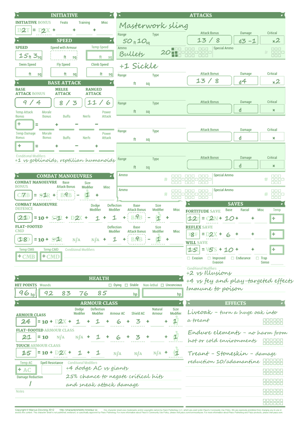 pathfinder unchained character sheet